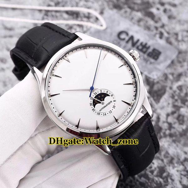 Yeni Master Ultra Ince 1368420 Ay Faz Beyaz Kadran Otomatik Erkek İzle Gümüş Kutu Deri Kayış Ucuz Gents Saatı