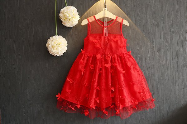 2018 summer new Korean girls stereo flower dress princess skirt girl dress skirt gauze gauze kids clothes