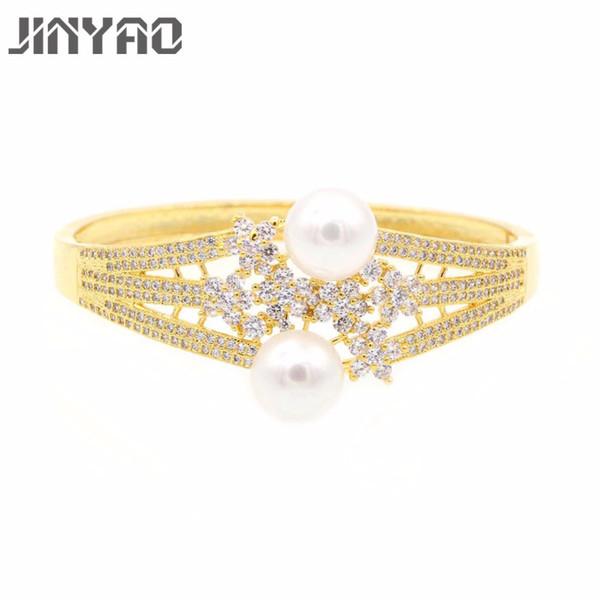Jinyao Moda Takı İnci Zirkon Kristal Manşet Bilezikler Kadınlar Pulseiras Bijoux için Beyaz Altın Renk Bileklikler Bilezikler