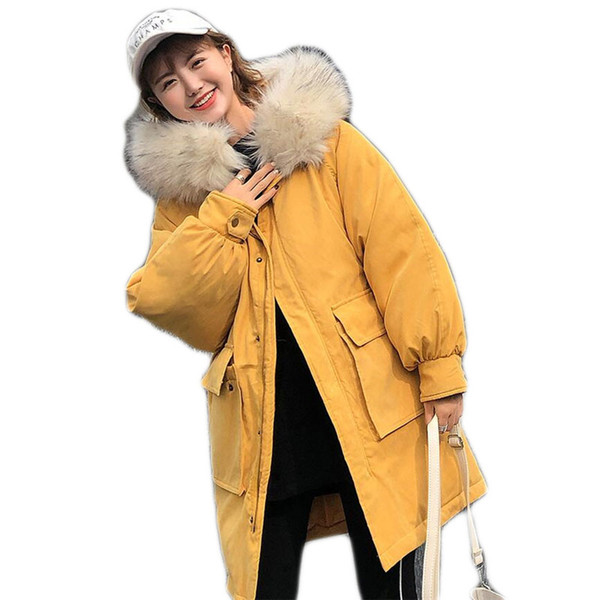 Winter Coat Women 2018 Parkas For Female Jacket Thicken Warm Hooded RED Coat Big Fur Collar Womens Winter Jackets And Coats B374