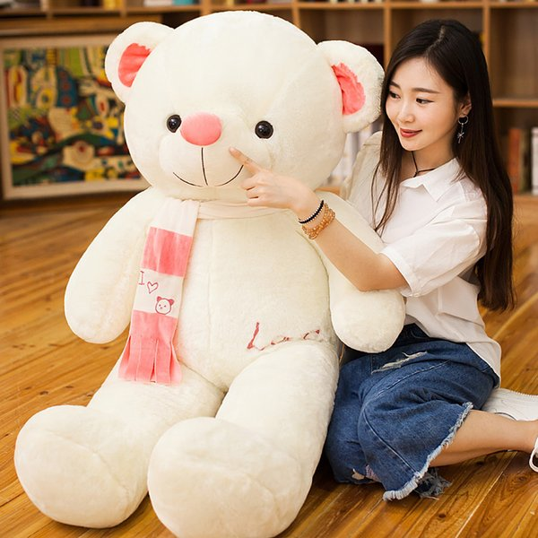 180cm Giant Teddy Bear PP Cotton Cute Scarf Big White Bear Soft Plush Toys Stuffed Animals Girlfriend Gifts Hug Toy for Sleep
