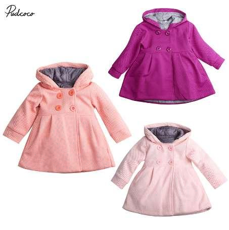 2688157a8 New Baby Toddler Girl Autumn Winter Horn Button Hooded Pea Coat ...