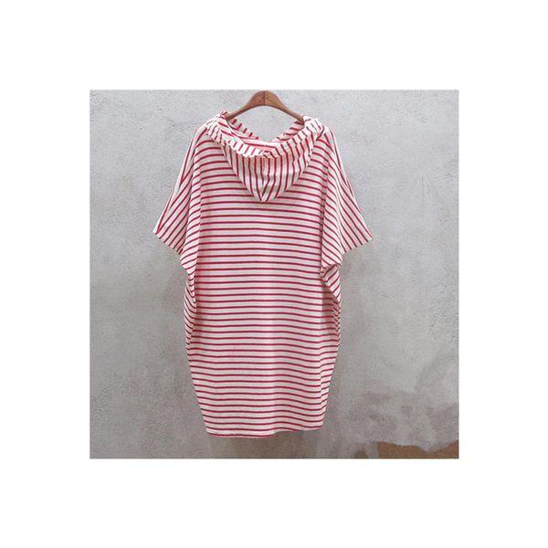 Pengpious 2018 summer postpartum nursing hooded T-shirt short sleeve batwing shirts striped cotton loose breastfeeding tops tees