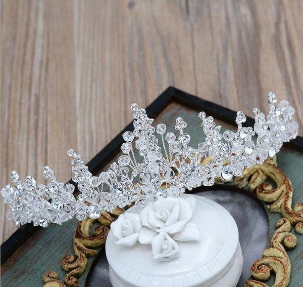 Bridal handmade crystal headwear Princess Baroque crown alloy water hair drill diamond hair new shiny