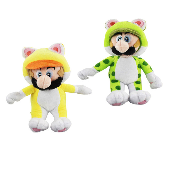 "New arrival 100% Cotton 8"" 20cm 5pcs/Lot Super Mario Bros Mario & Luigi Cat Plush Doll Stuffed Animals Toy For Child Best Gifts"