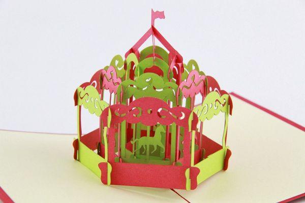 Carrusel caballo pop-up tarjeta tarjeta de felicitación 3D kirigami hecho a mano tarjeta de cartón 10 unids / lote envío gratis