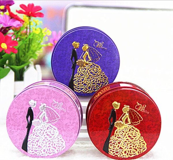 1000pcs Round Shape Metal Tin Material Bride Groom Candy Box Wedding Favor Gift Favours Wedding Party Free Shipping