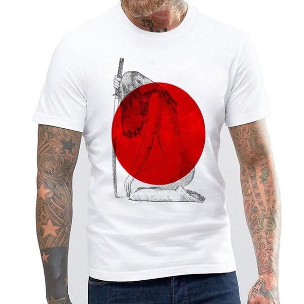 Japon Samurai Karikatürler T Shirt Erkekler Yaz Karikatür Tasarlanmış Baskı T-Shirt yaz Sıcak Satış Yeni Tee Baskı Erkekler T-Shirt Üst