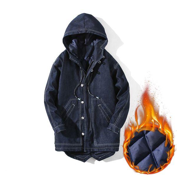 Men Autumn Winter warm Jacket Parka Denim Jeans Quilted Padded Wadded Windbreaker Hooded Male long Jackets Parkas Overcoat
