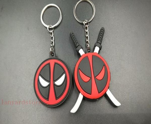 100 Pçs / lote MarvelX herói de guerra Cosplay Deadpool HT HOTTOYS Vestido morto 2 chaveiro anel pingente