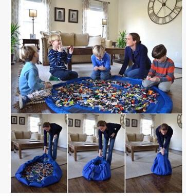 Almacenamiento de juguetes para niños Bolsa con cordón para niños Juguetes Organizador Venta caliente 150 cm de gran capacidad Estera de juego Manta Alfombra Cajas