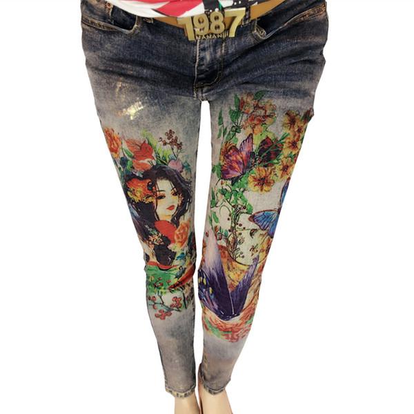 3D-Blumen-Muster Painted Frau Eleganter Stil Denim-Hosen Hosen 3D-Druck Painted Pattern Jeans Frauen Stretch-Röhrenjeans