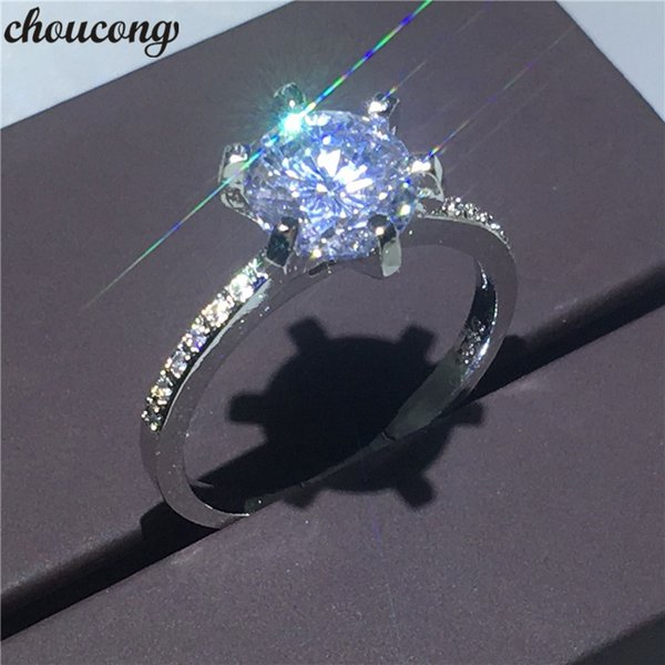 choucong Claw set Female ring Eight hearts & eight arrows Diamond 925 silver Engagement Wedding Band Rings For Women