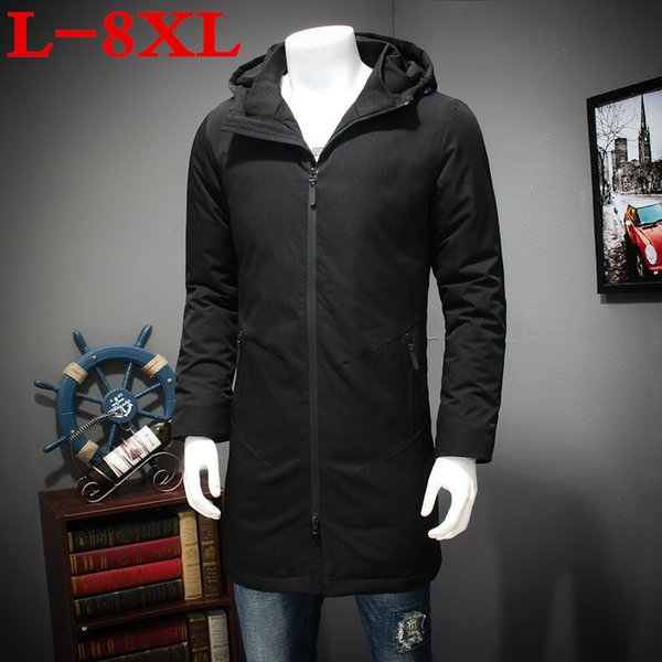 plus size 8XL in the long winter cotton padded clothes men XL warm coat fat fat thick jacket hooded cotton down free shipping