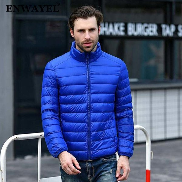 ENWAYEL Autumn Winter Lightweight Thin 90% White Duck Down Jacket Men Casual Ultralight Male Feather Jackets Coat Ultra Light L18101104