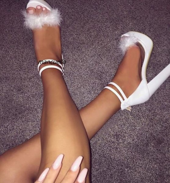 Fancy Buckle Style Block Heel Platform Sandals White PU Leather Fur Decorated Open Toe Chunky Heel Dress Sandals Comfy DateShoes