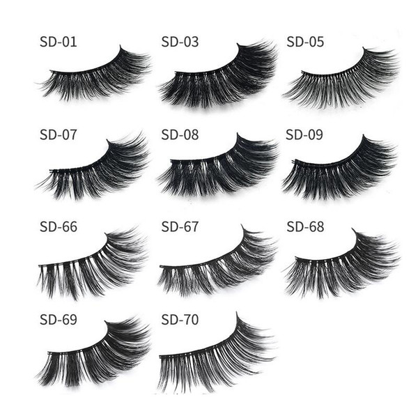 2018 MINK eyelashes 11 styles Selling 1pair lot Real Siberian 3D Full Strip False Eyelash Long Individual Mink Lashes Extension