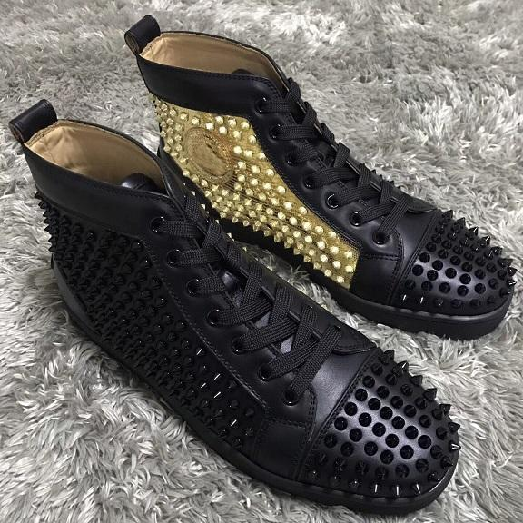 Luxury Brand High Top Red Bottom Spikes Sneakers Shoes White-sliver,Black-gold Studs Fashion Designer Walking With Box