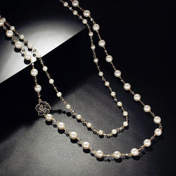 Moda Larga Capas Dobles simulados Cadena de Perlas Cristales Grises Negro Rose Charm Colgante de Collar de Joyería de Las Mujeres Declaración de Regalo