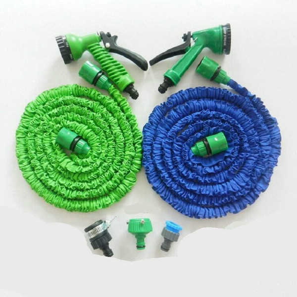 top popular 3X Expandable Magic Hose with 7in1 Spray Gun Nozzle 25FT 50FT 75FT 100FT Irrigation System Garden Hose Water Gun Pipe OPP Package 10PCS 2021