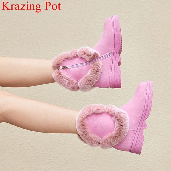 Superstar elegante med tacones cremallera punta redonda mujeres botas de media pantorrilla aumento mantener cálidas botas de nieve oficina señora zapatos de invierno L09