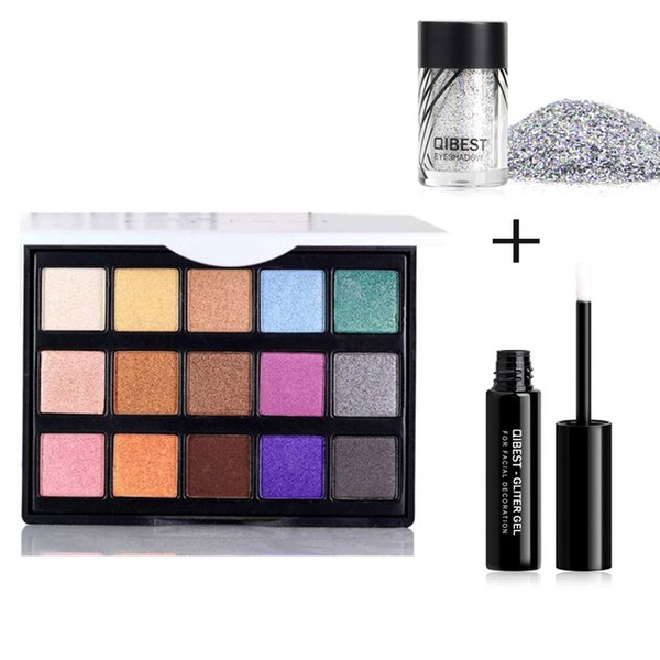 Holographic Glitter Shimmer Eyeshadow Palette Powder Pigment Shiny Glitter Eye Shadow Make up Sequins Body Art Makeup with Glue