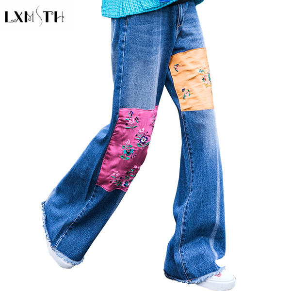 LXMSTH Yeni Nakış Kot Kadın 2018 Moda Gevşek Bağbozumu Geniş Bacak Kot Yüksek Bel Bahar Sonbahar Rahat Püskül Pantolon