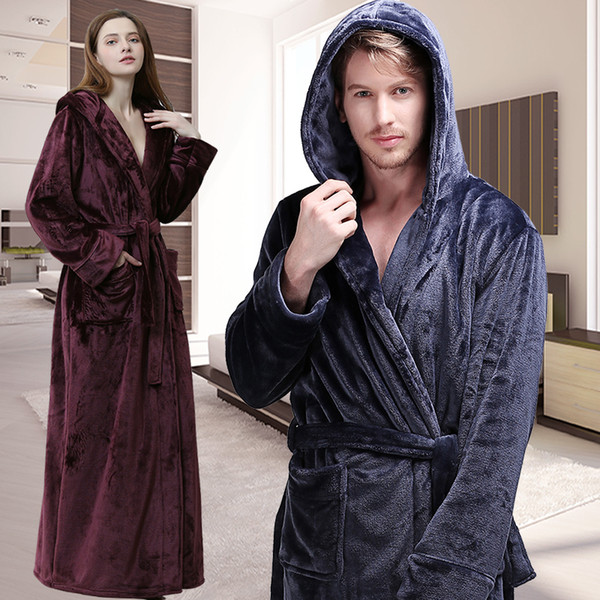 788459fc94 Men Women Winter Hooded Extra Long Thick Flannel Warm Bath Robe Plus Size  Luxury Soft Thermal Bathrobe Dressing Gown Male Robes