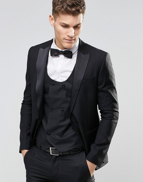 New Fashion Style Formal Mens Custom Suits 2018 Peaked Lapel Black Wedding Dress Men Prom Tuxedos For Men Groom Suit (Jacket+Pants+Vest+Bow)