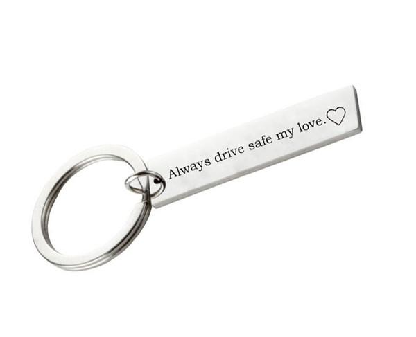 Always Drive Safe My Love Auto Car Keychain Metal Keyring Pendant Key Holder