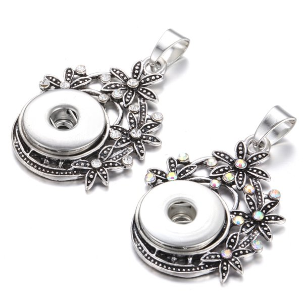 New Noosa Chunks Jewelry 18mm Snap Button Pendant Rhinestone Flower Snap Pendant Necklaces Without Chains for Women