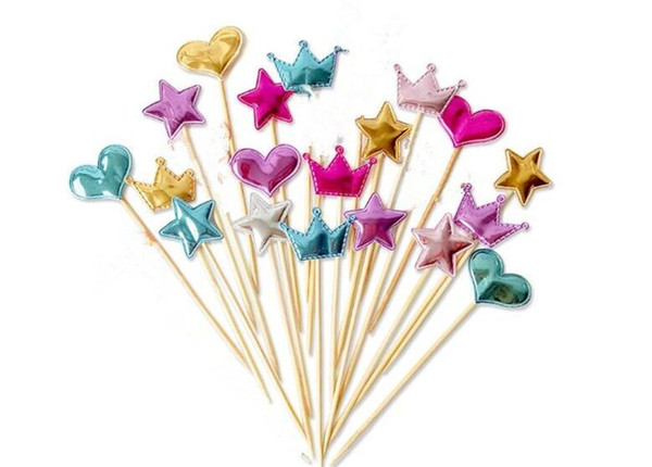 200 lot 5 pcs/lot lovely heart star crown cake topper for birthday cupcake flag baby shower party wedding decoration supplies C235