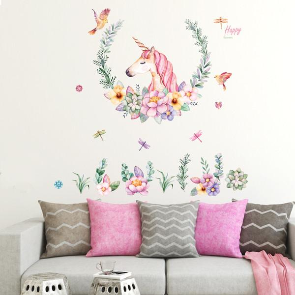 Caldo lampadario dipinto a mano stile europeo / parete unicorno apposto soggiorno camera da letto sala da pranzo decorazione abbellimento può essere rimosso