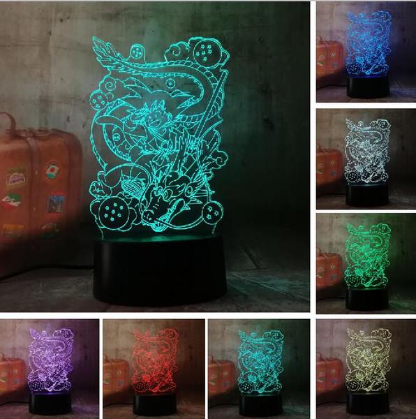 Sıcak Dragon Ball Son Goku 3D Masa Lambası Süper Saiyan LED gece Işıkları odası Dekor Boys için 7 Renk Değiştirme Gece Işığı Adam Action Figure Hediye
