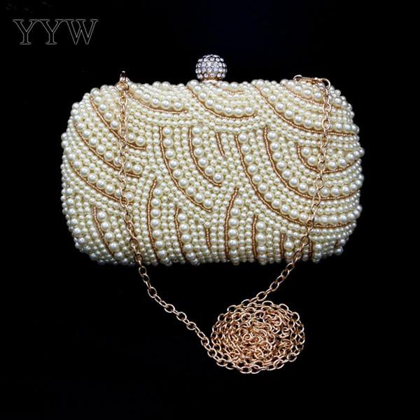 Bolso de perlas de plástico de lujo Bolsos de mujer con cierre entrelazado