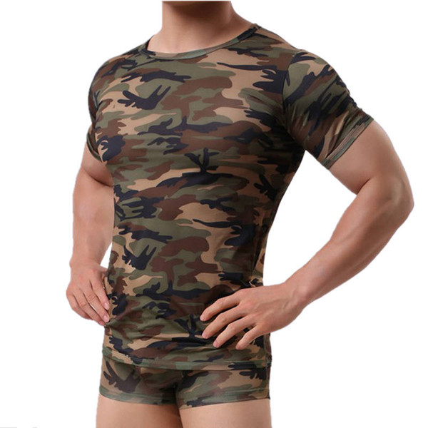 Men's Camouflage Short Sleeve T-shirt Round Neck Slim Tight Muscle Undershirt Breathable Camo Bodybuilding Stretch Vest Tops