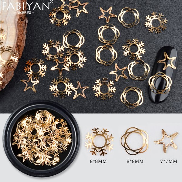 Mixed Shape Nail Art Decoration Metal Gold Design Hollow Snowflake Star Sequins Acrylic Tips Manicure Tool Accessories Christmas