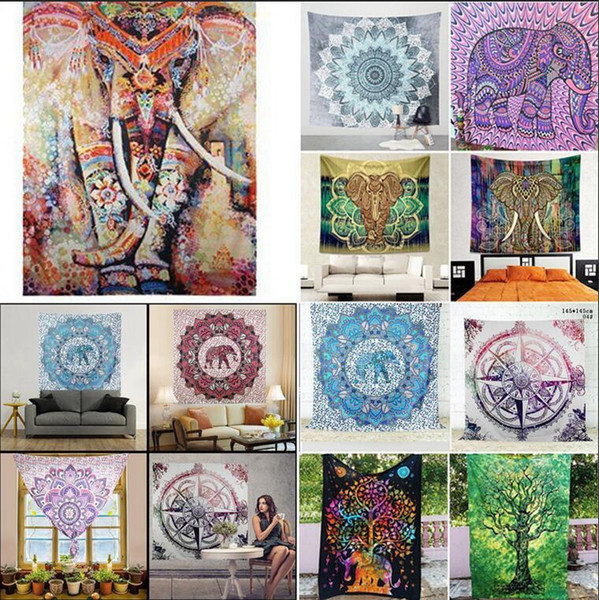 best selling 150*130CM Indian Bohemian Mandala Tapestry Wall Hanging Beach Picnic Throw Rug Blanket wall hanging Decor yoga kids mat AAA571