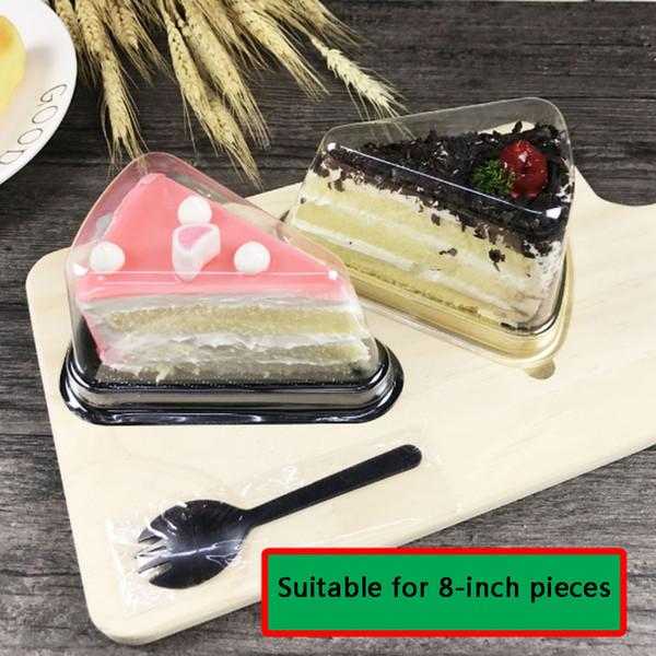Yeni Varış Plastik Temizle Tek Kullanımlık Kek Kutusu Tek Bireysel 8 Inç Üçgen Kek Kutuları Gıda Tatlı Ambalaj