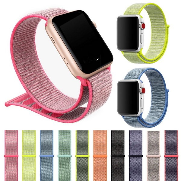 Sports Nylon Strap for Apple Watch iWatch 1 2 3 Band 42mm 38mm Colorful Nylon Loop Clasp Woven Wrist Braclet Belt Bands Wristband