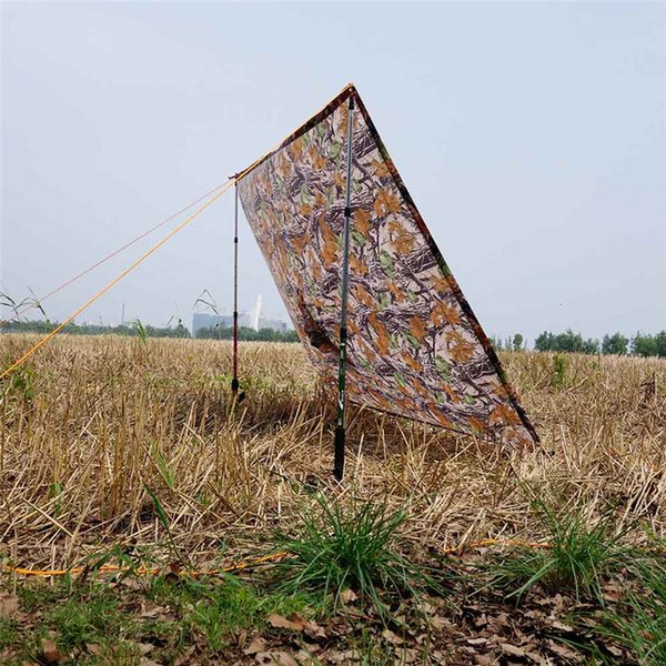 Portable 3in1 Multifunction Camouflage Camping Mat Tent Raincoat Waterproof Rain Poncho Packable Light Raincoat Sun Shelter Tent