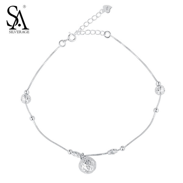 SA SILVERAGE 925 Sterling Silver Anklets For Women Anklets Silver 925 Hollow Ball Charm Fine Jewelry Accessory Best Gift 11.11 C18110801