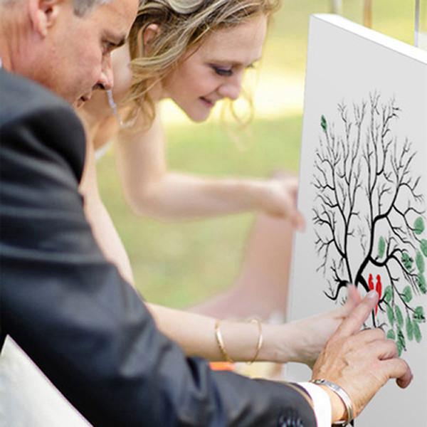 30 * 40 cm Personalisierte Leinwand Fingerprint Malerei Hochzeit Baum Gästebuch Hochzeitsgeschenke DIY Kommunion Geburtstagsfeier Dekorationen