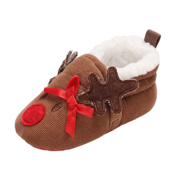 2018 Autumn And Winter Plus Velvet Christmas Cute Cartoon Cotton Shoes Comfortable For Dressing Stylish Baby Shoes