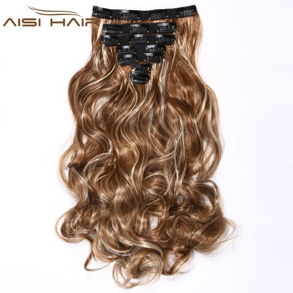 """20"""" Curly Synthetic Heat Resistant Fiber 16 Clips in Hair Extensions Long Curly Hair for Women"""