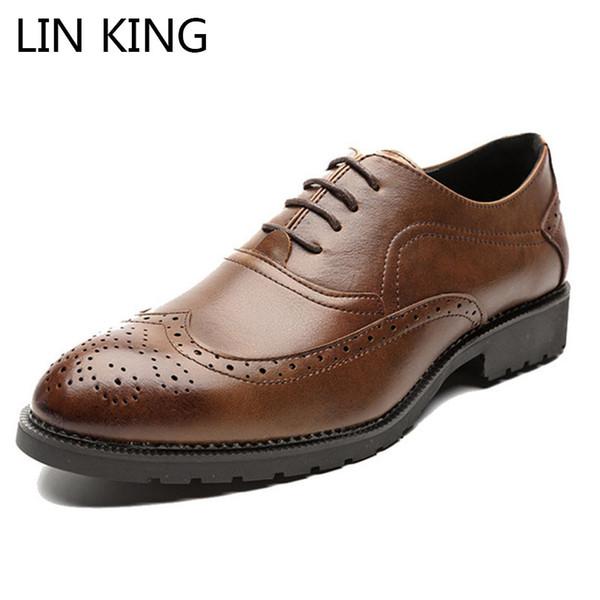 LIN KING Plus Size Homens Apontou Toe Vestido Sapatos Lace Up Escultura Sapatos Brogue Low Top Causal Festa de Casamento Formal Para O Sexo Masculino