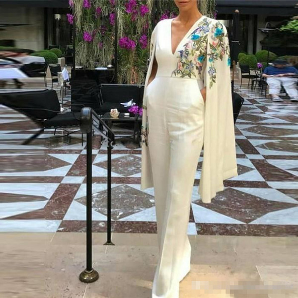 Personalized Long Jumpsuits for Women Formal Evening Dresses with Cape Turkish Women Robe V Neck Dubai Prom Dress Party Wear