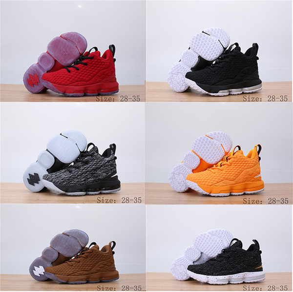 b9af086e8cf 2018 New Kids Basketball Shoes Ashes Ghost LeBron 15 Red Black Lebrons Boys  Training Arrival Sports