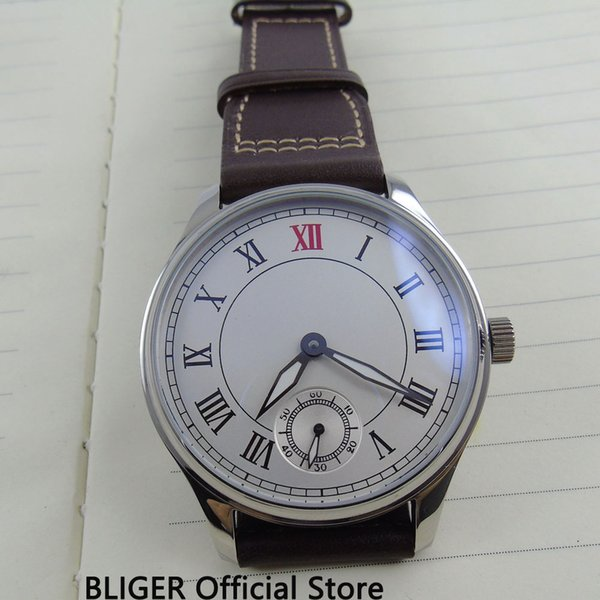 Classic 44MM White Sterile Dial Roman Numerals 17 Jewels 6498 Hand Winding Movement Leather Strap pilot Wrist Watches For Men B3