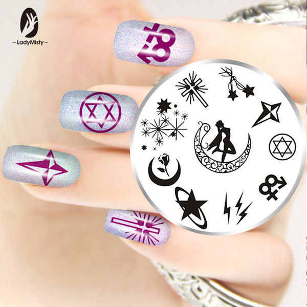 Ladymisty Cartoon Star Pattern Nail Art Stamp Image Plate Template Lace Nail Art Plate Stencils